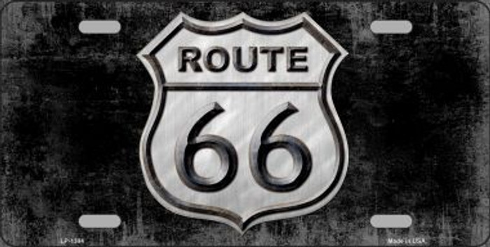 Route 66 Black & White Novelty Wholesale Metal License Plate