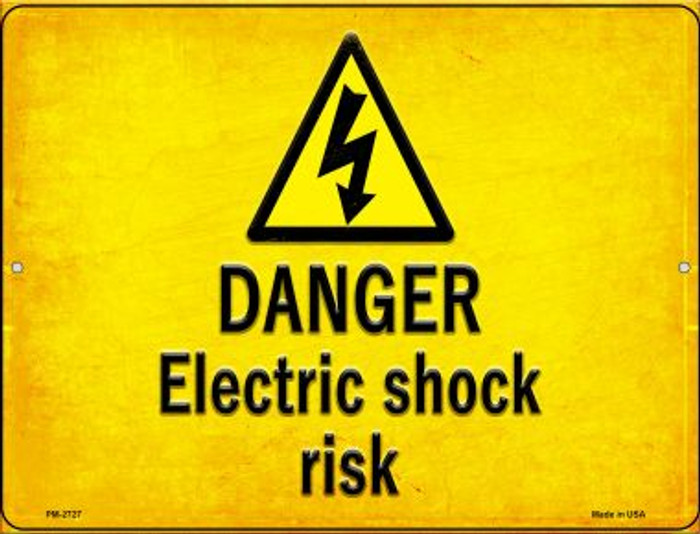 Danger Electric Shock Risk Wholesale Novelty Mini Metal Parking Sign PM-2727