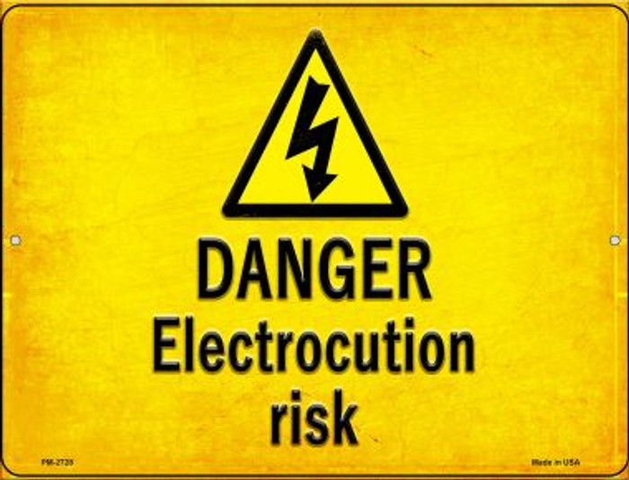 Danger Electrocution Risk Wholesale Novelty Mini Metal Parking Sign PM-2728
