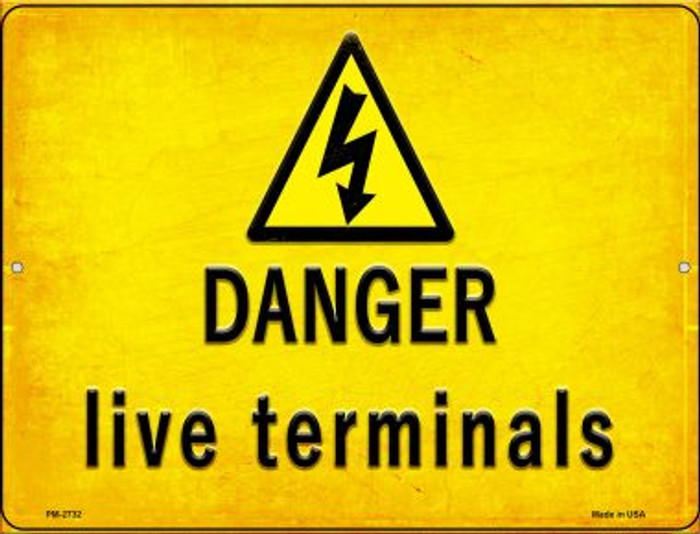 Danger Live Terminals Wholesale Novelty Mini Metal Parking Sign PM-2732