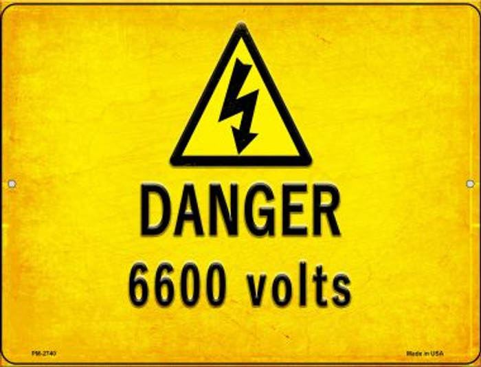 Danger 6600 Volts Wholesale Novelty Mini Metal Parking Sign PM-2740