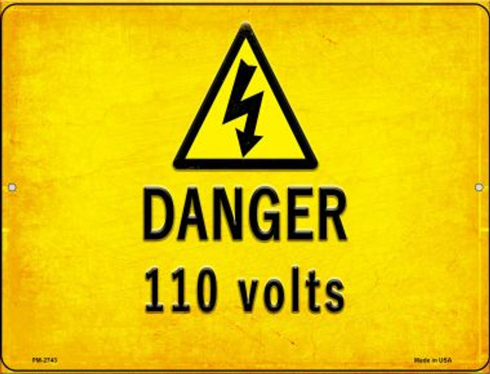 Danger 110 Volts Wholesale Novelty Mini Metal Parking Sign PM-2743