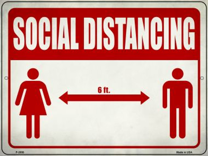 Social Distancing Red Wholesale Novelty Metal Parking Sign P-2858