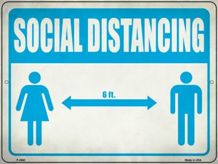 Social Distancing Blue Wholesale Novelty Metal Parking Sign P-2860