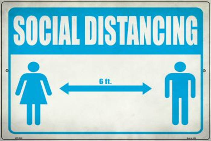 Social Distancing Blue Wholesale Novelty Metal Large Parking Sign LGP-2860