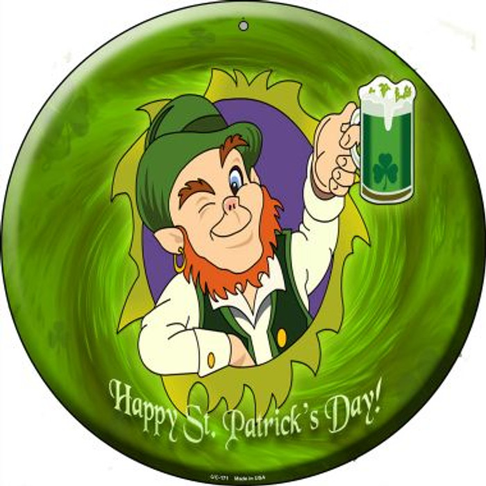 Happy St. Patricks Day Wholesale Novelty Small Metal Circular Sign UC-171