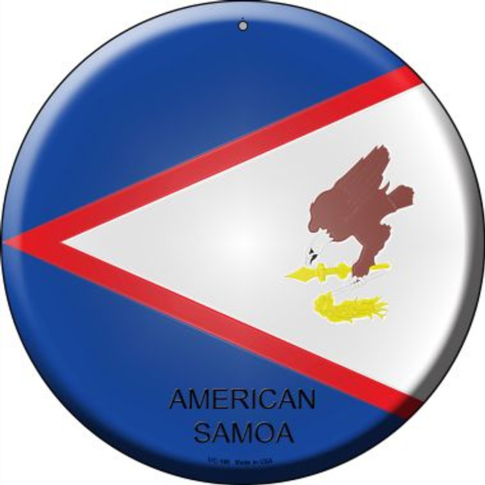 American Samoa Country Wholesale Novelty Small Metal Circular Sign UC-186
