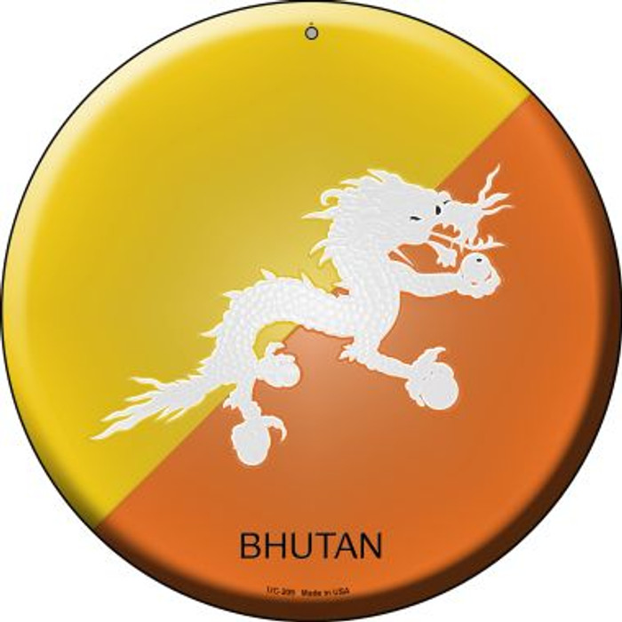 Bhutan Country Wholesale Novelty Small Metal Circular Sign UC-209