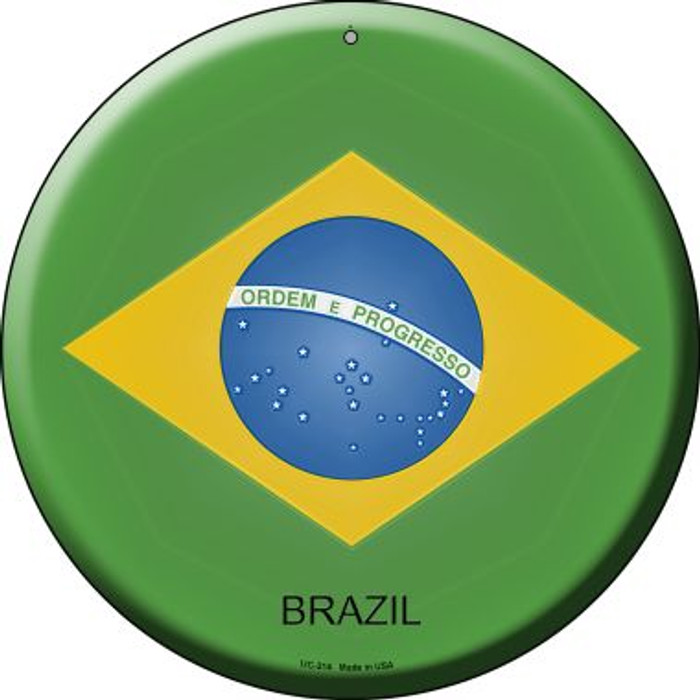 Brazil Country Wholesale Novelty Small Metal Circular Sign UC-214