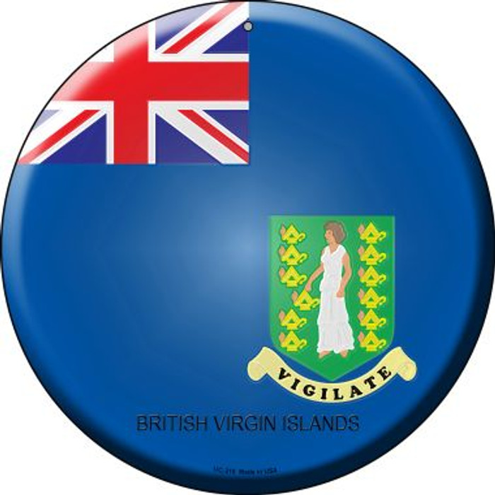 British Virgin Islands Country Wholesale Novelty Small Metal Circular Sign UC-215