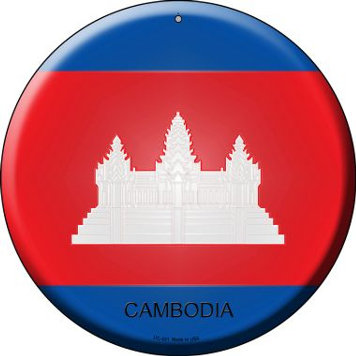 Cambodia Country Wholesale Novelty Small Metal Circular Sign UC-221