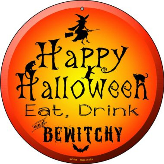 Happy Halloween Wholesale Novelty Small Metal Circular Sign UC-506