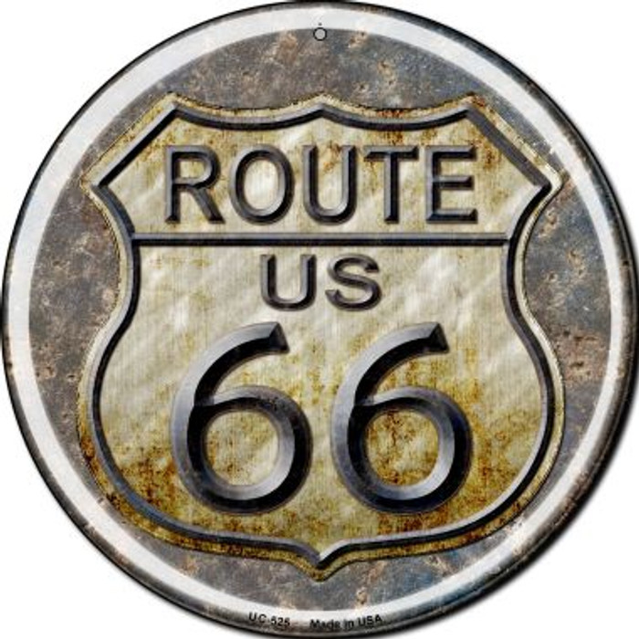 Rusty Route 66 Wholesale Novelty Small Metal Circular Sign UC-525
