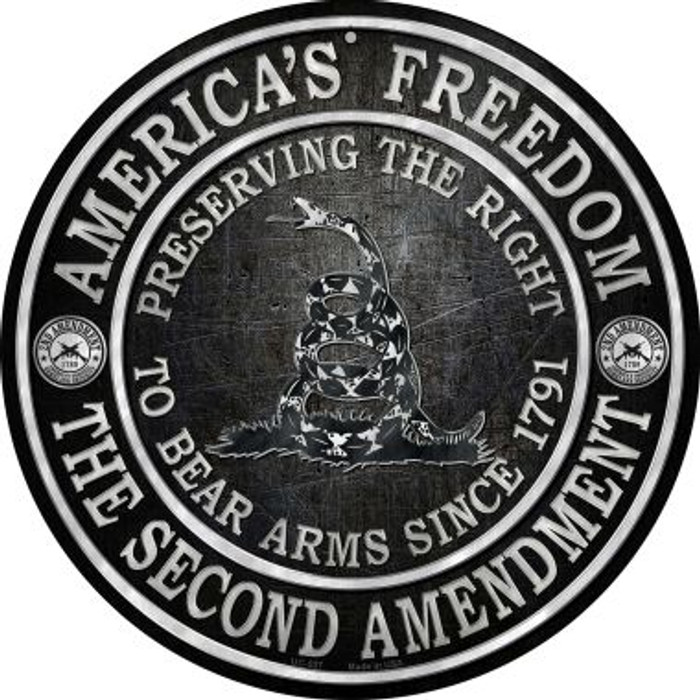 Americas Freedom Wholesale Novelty Small Metal Circular Sign UC-527