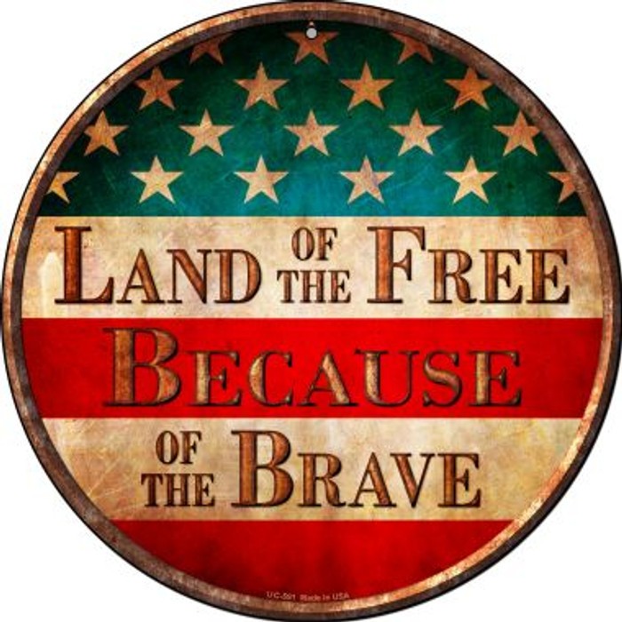 Land of The Free Wholesale Novelty Small Metal Circular Sign UC-591