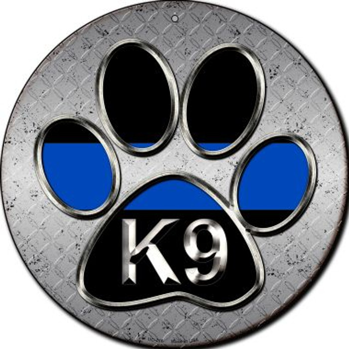 Paw Thin Blue Line K-9 Wholesale Novelty Small Metal Circular Sign UC-716