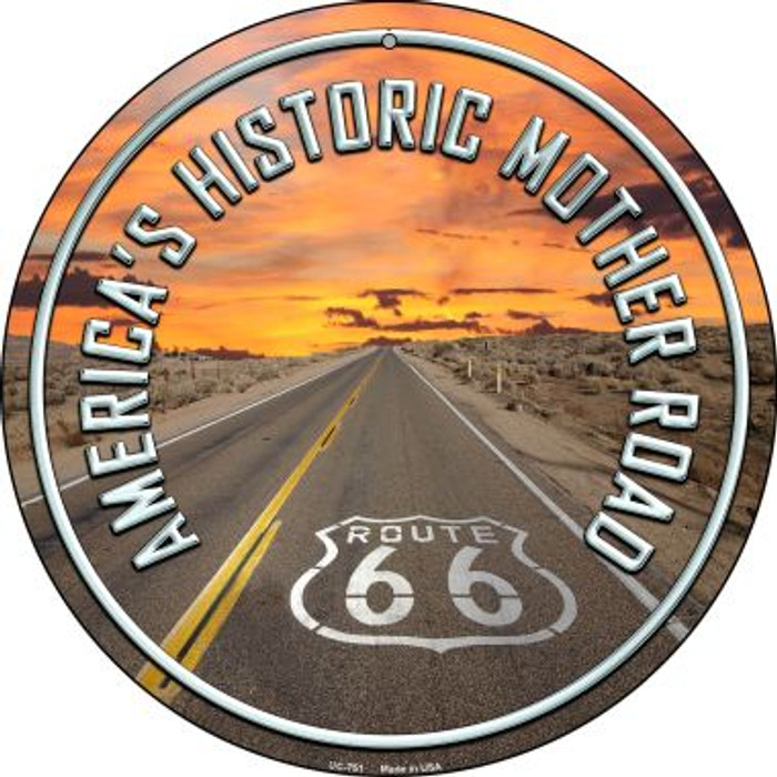 Mother Road Route 66 Wholesale Novelty Small Metal Circular Sign UC-751