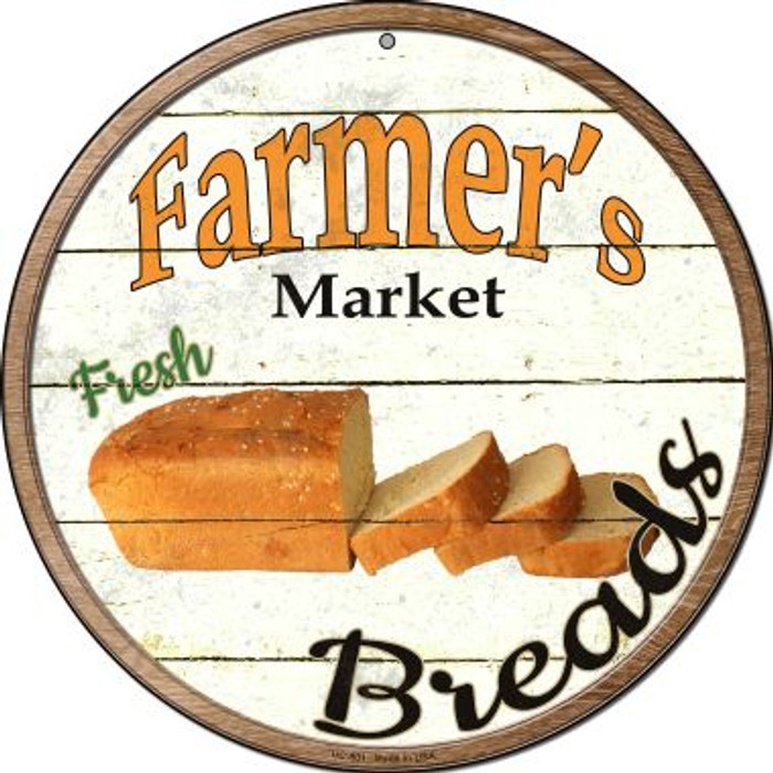 Farmers Market Breads Wholesale Novelty Small Metal Circular Sign UC-801