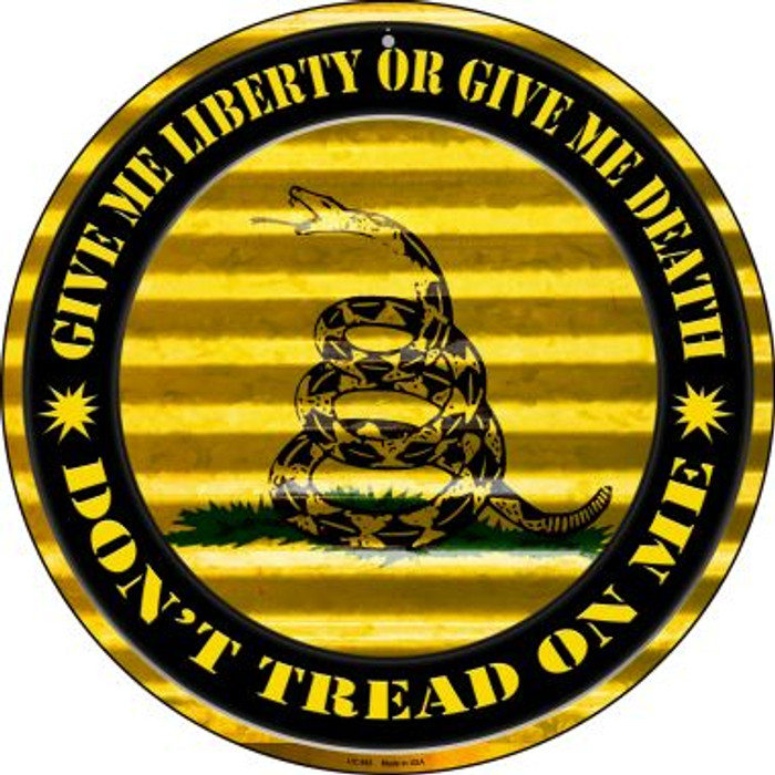 Don't Tread On Me Wholesale Novelty Small Metal Circular Sign UC-892