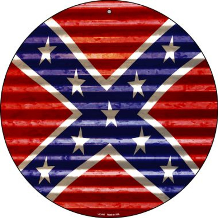 Confederate Flag Wholesale Novelty Small Metal Circular Sign UC-895