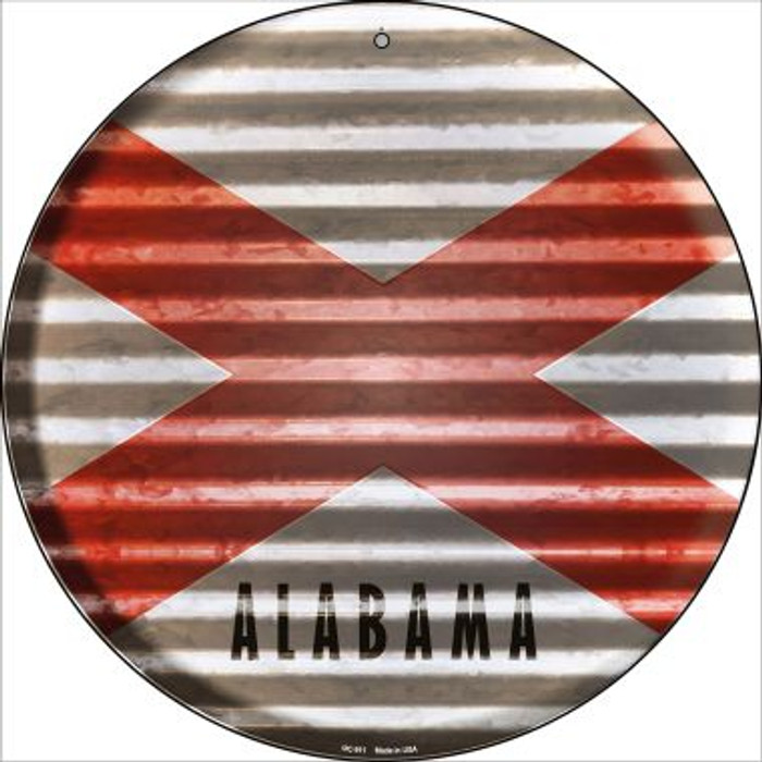 Alabama Flag Corrugated Effect Wholesale Novelty Small Metal Circular Sign UC-911