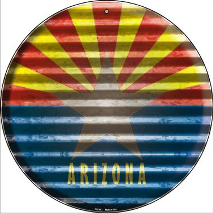 Arizona Flag Corrugated Effect Wholesale Novelty Small Metal Circular Sign UC-913