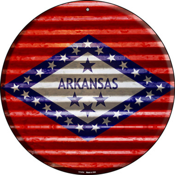 Arkansas Flag Corrugated Effect Wholesale Novelty Small Metal Circular Sign UC-914