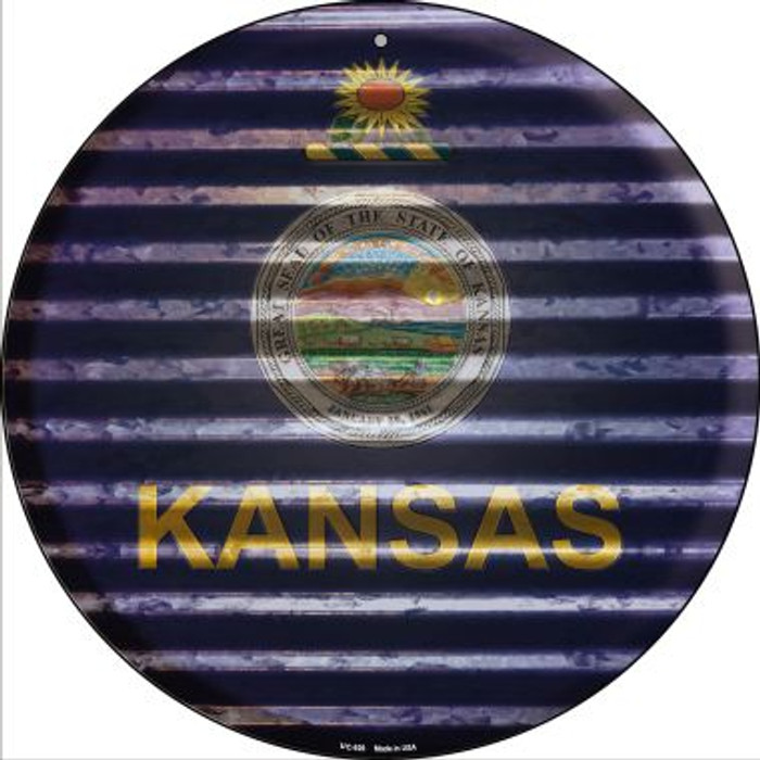 Kansas Flag Corrugated Effect Wholesale Novelty Small Metal Circular Sign UC-926