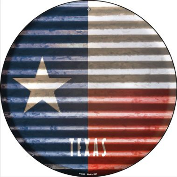 Texas Flag Corrugated Effect Wholesale Novelty Small Metal Circular Sign UC-953