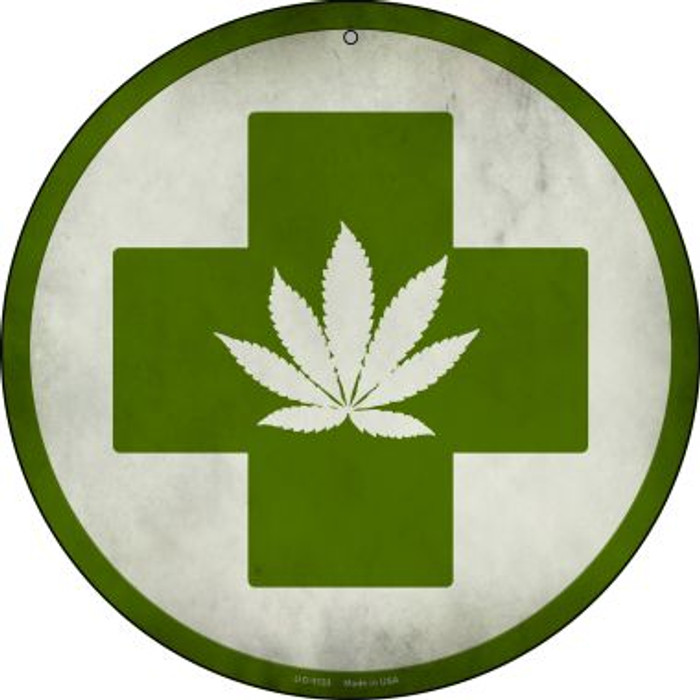 Cannabis Green Cross Wholesale Novelty Small Metal Circular Sign UC-1133