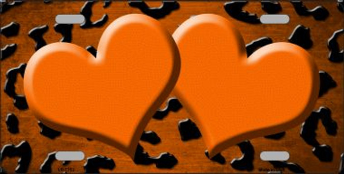 Orange Black Cheetah Hearts Print Oil Rubbed Wholesale Metal Novelty License Plate