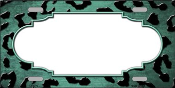 Mint Black Cheetah Scallop Print Oil Rubbed Wholesale Metal Novelty License Plate