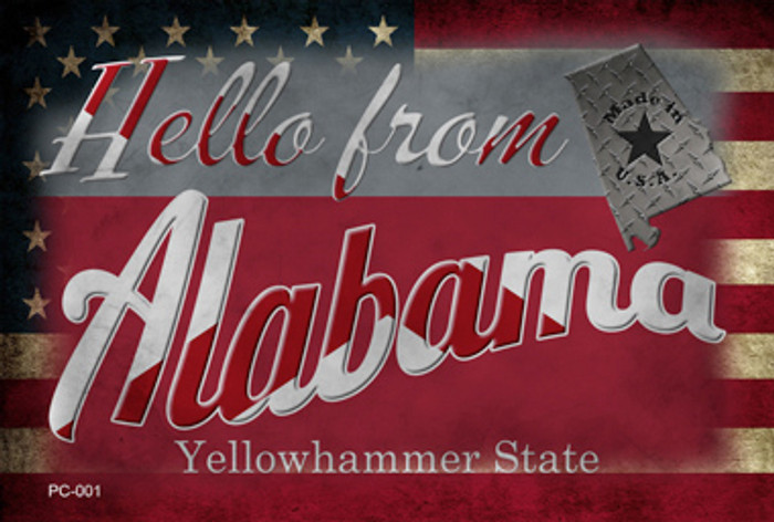Hello From Alabama Wholesale Novelty Metal Postcard PC-001