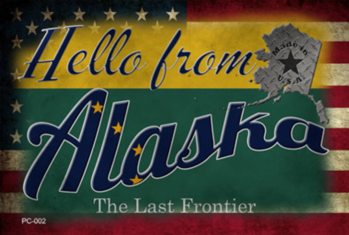 Hello From Alaska Wholesale Novelty Metal Postcard PC-002