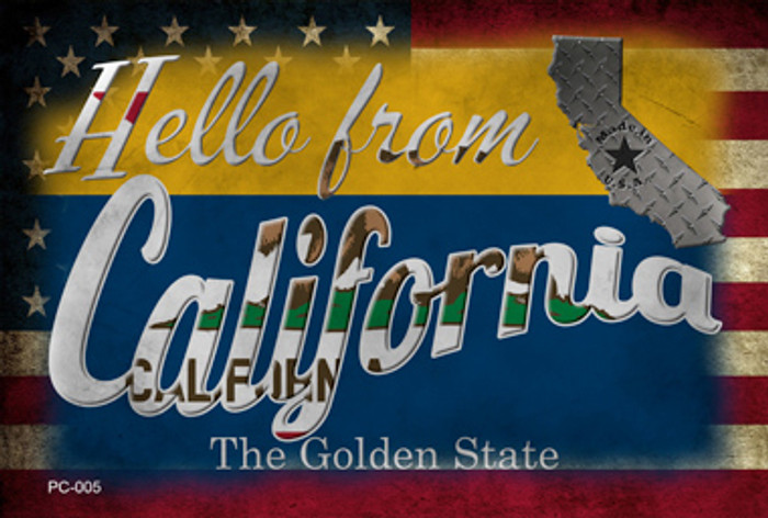 Hello From California Wholesale Novelty Metal Postcard PC-005