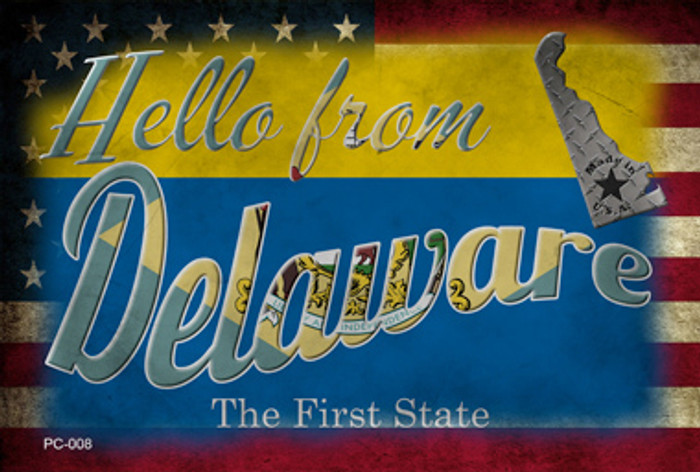 Hello From Delaware Wholesale Novelty Metal Postcard PC-008