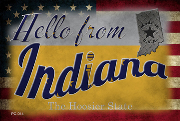 Hello From Indiana Wholesale Novelty Metal Postcard PC-014