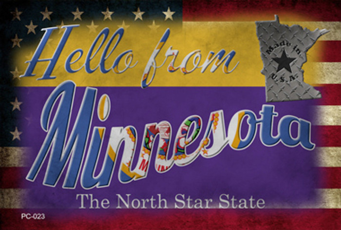 Hello From Minnesota Wholesale Novelty Metal Postcard PC-023