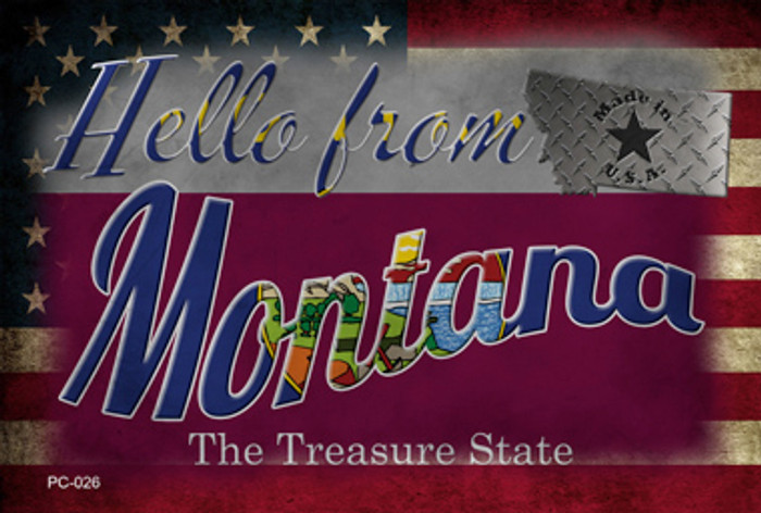 Hello From Montana Wholesale Novelty Metal Postcard PC-026