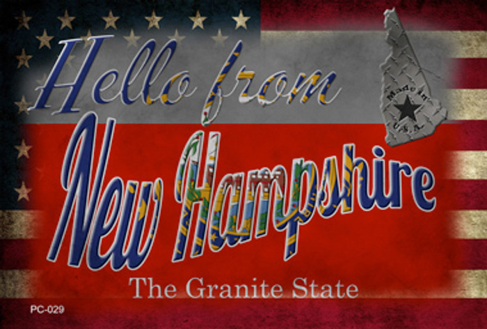 Hello From New Hampshire Wholesale Novelty Metal Postcard PC-029