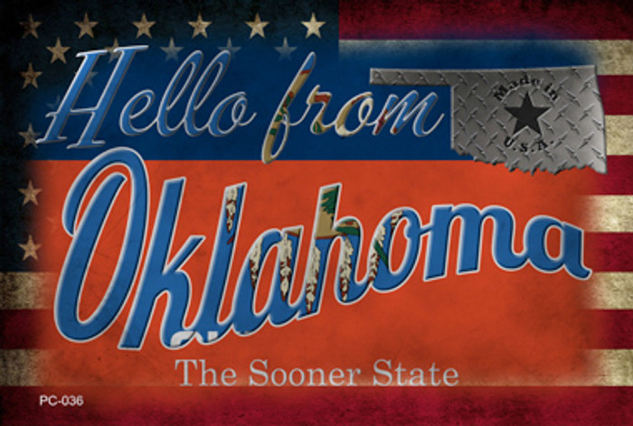 Hello From Oklahoma Wholesale Novelty Metal Postcard PC-036