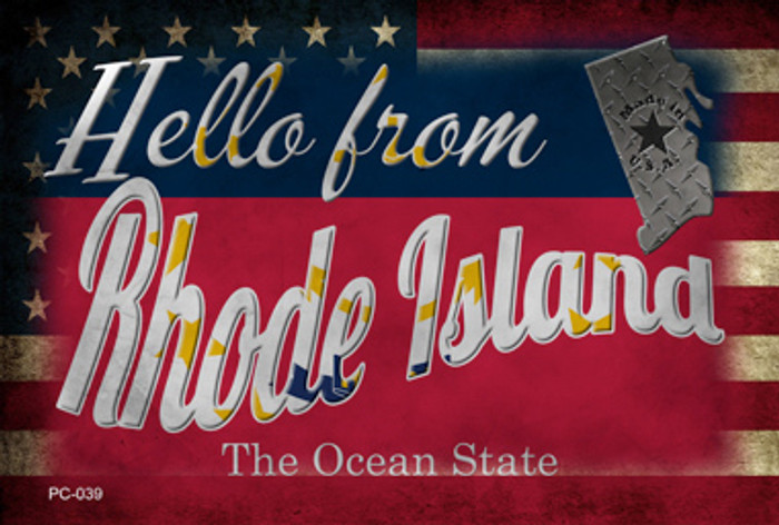 Hello From Rhode Island Wholesale Novelty Metal Postcard PC-039