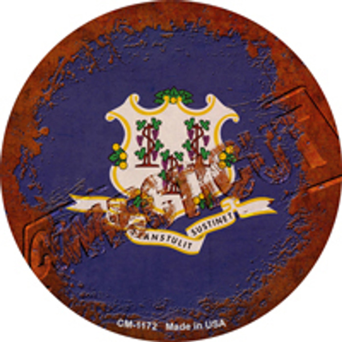 Connecticut Rusty Stamped Wholesale Novelty Mini Metal Circle Magnet CM-1172