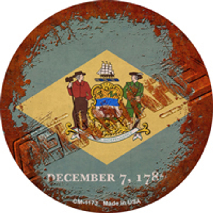 Delaware Rusty Stamped Wholesale Novelty Mini Metal Circle Magnet CM-1173