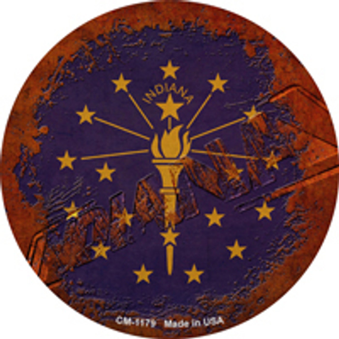 Indiana Rusty Stamped Wholesale Novelty Mini Metal Circle Magnet CM-1179