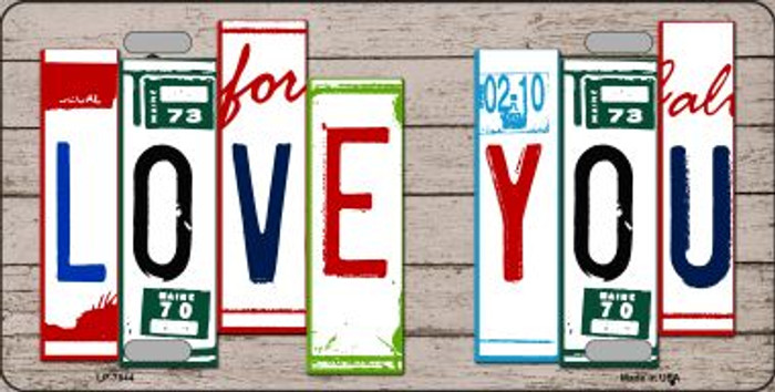 Love You License Plate Art Wood Pattern Wholesale Metal Novelty License Plate