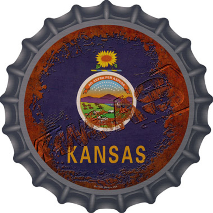 Kansas Rusty Stamped Wholesale Novelty Metal Bottle Cap BC-1181