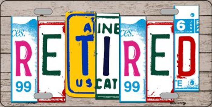 Retired License Plate Art Wood Pattern Wholesale Metal Novelty License Plate