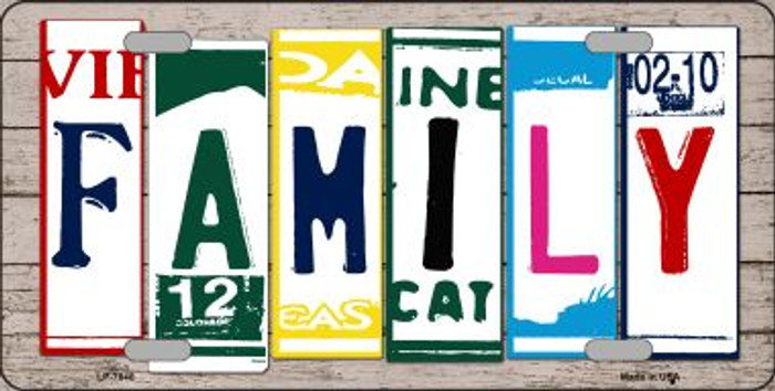 Family License Plate Art Wood Pattern Wholesale Metal Novelty License Plate