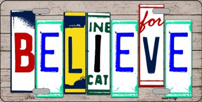 Believe License Plate Art Wood Pattern Wholesale Metal Novelty License Plate
